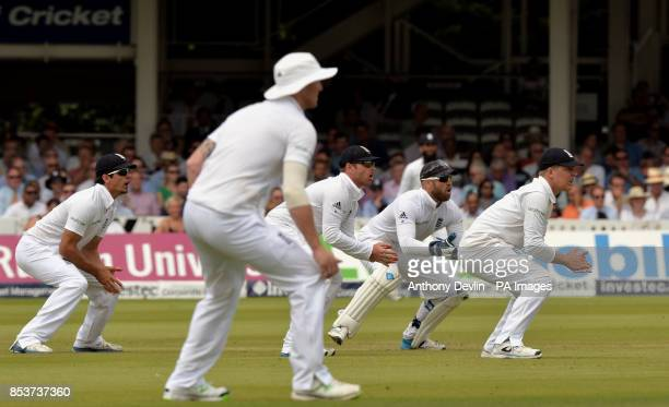 England's fielders Alastair Cook Ben Stokes Ian Bell Matt Prior and Gary Ballance during day one of the second test at Lord's Cricket Ground London