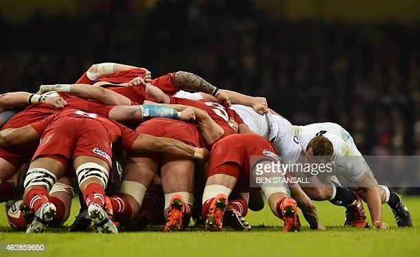 England's flanker Chris Robshaw pushes at the edge of the scrum during the Six Nations international rugby union match between Wales and England at...