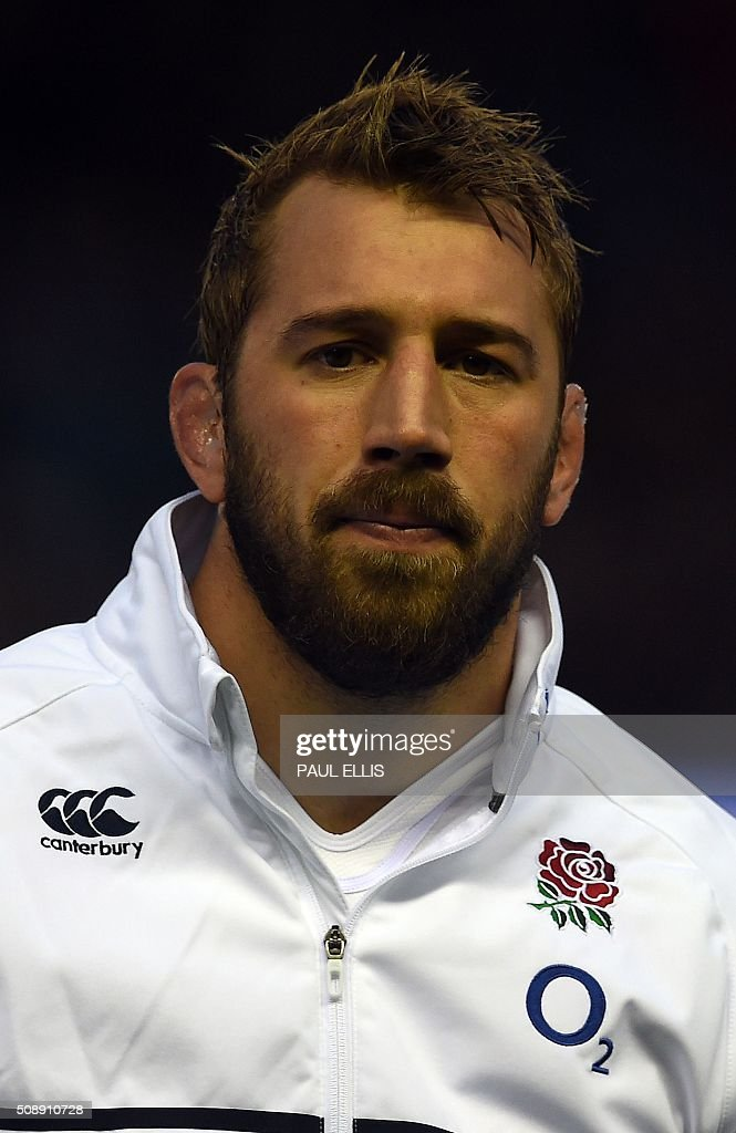 England's flanker Chris Robshaw sings the national anthem ahead of the Six Nations international rugby union match between Scotland and England at Murrayfield in Edinburgh, Scotland on Febuary 6, 2016. England won the match 15-9. / AFP / PAUL ELLIS