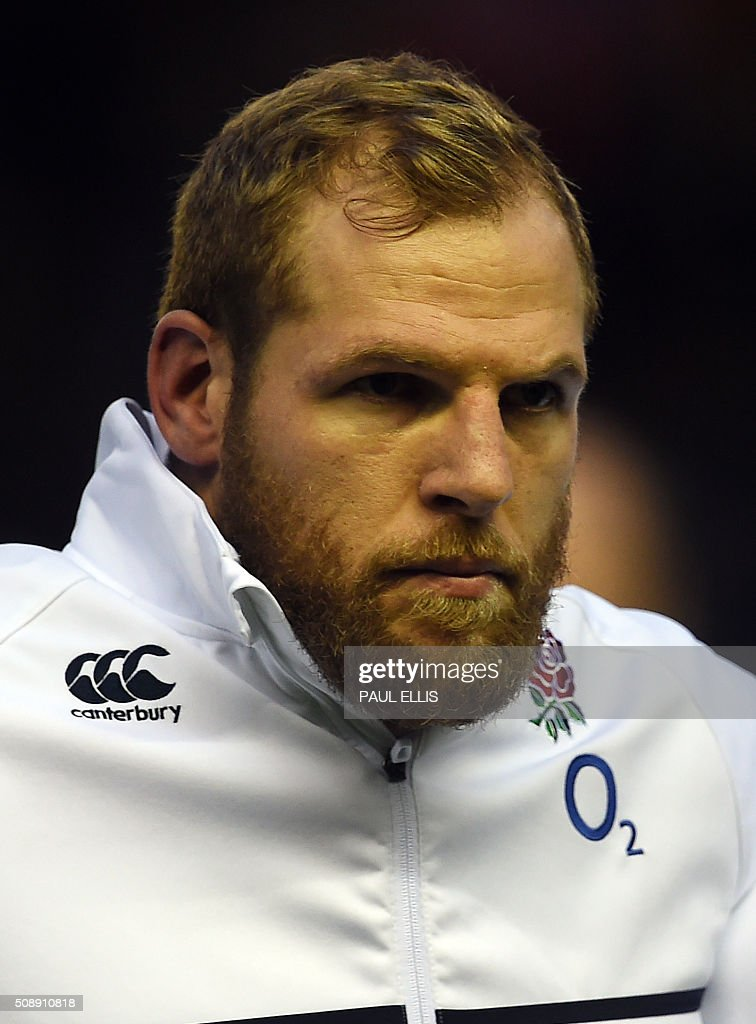 England's flanker James Haskell sings the national anthem ahead of the Six Nations international rugby union match between Scotland and England at Murrayfield in Edinburgh, Scotland on Febuary 6, 2016. England won the match 15-9. / AFP / PAUL ELLIS