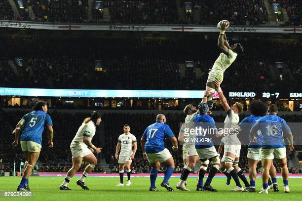 England's flanker Maro Itoje claims the lineout during the autumn international rugby union test match between England and Samoa at Twickenham...