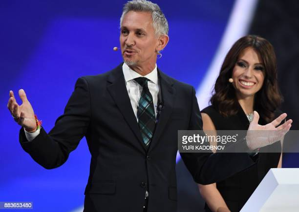 England's former forward and draw conductor Gary Lineker and Russian sports journalist and draw conductor Maria Komandnaya conduct the 2018 FIFA...