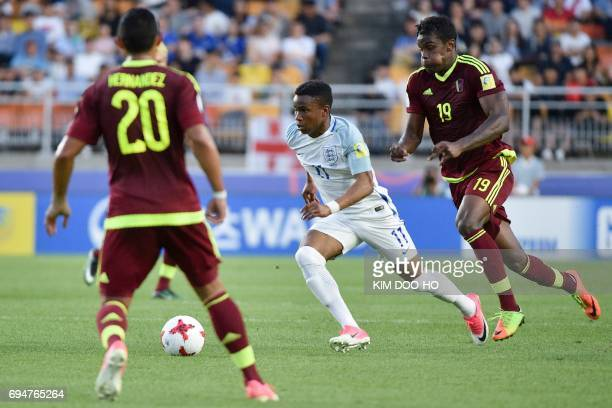 England's forward Ademola Lookman controls the ball during the U20 World Cup final football match between England and Venezuela in Suwon on June 11...