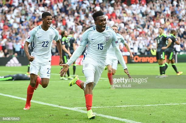 England's forward Daniel Sturridge celebrates scoring the 21 goal with England's forward Marcus Rashford during the Euro 2016 group B football match...
