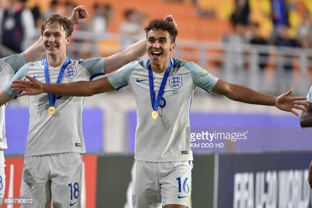 England's forward Dominic CalvertLewin and England's midfielder Kieran Dowell celebrate their victory after the U20 World Cup final football match...