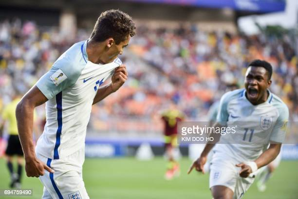 England's forward Dominic CalvertLewin celebrates a goal during the U20 World Cup final football match between England and Venezuela in Suwon on June...