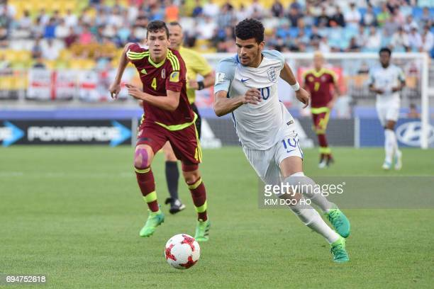 England's forward Dominic Solanke controls the ball during the U20 World Cup final football match between England and Venezuela in Suwon on June 11...