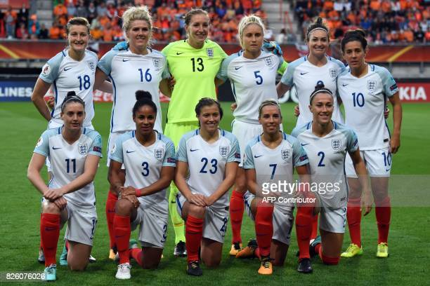 England's forward Ellen White midfielder Millie Bright goalkeeper Siobhan Chamberlain defender Steph Houghton forward Jodie Taylor midfielder Fara...