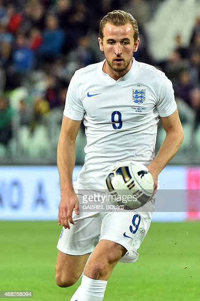 England's forward Harry Kane controls the ball during the friendly football match Italy vs England at the Juventus Stadium in Turin on March 31 2015...