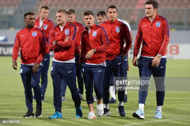 England's forward Jamie Vardy and teammates tour the National Stadium in Malta's Ta' Qali village on the eve of the 2018 FIFA World Cup qualifying...