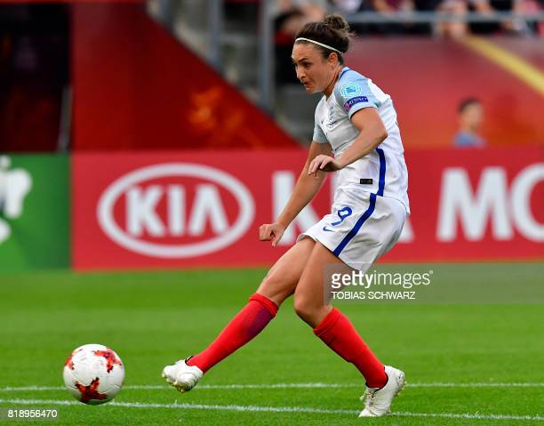 England's forward Jodie Taylor kicks the ball to open the scoring during the UEFA Women's Euro 2017 football tournament match between England and...