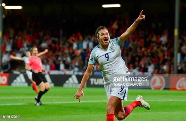 England's forward Jodie Taylor reacts after scoring a goal during the UEFA Women's Euro 2017 tournament quarterfinal football match between England...
