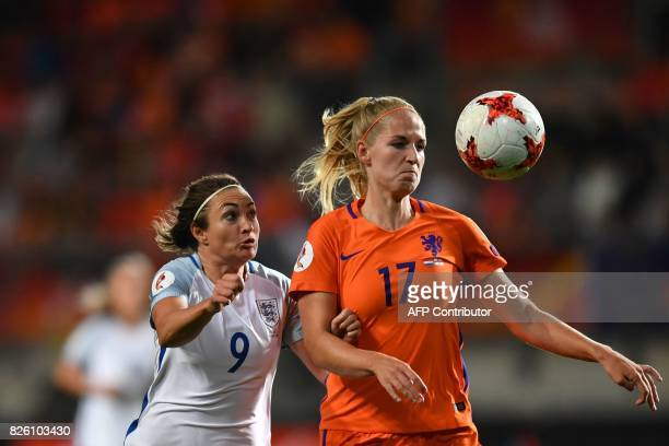 England's forward Jodie Taylor vies for the ball with Netherlands' defender Kelly Zeeman during the UEFA Womens Euro 2017 football tournament...