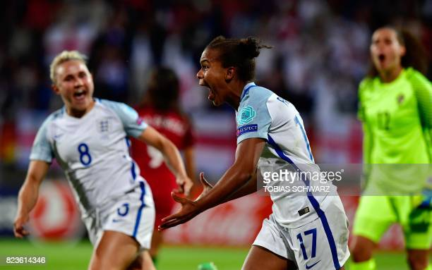 England's forward Nikita Parris reacts after scoring during the UEFA Women's Euro 2017 football match between Portugal and England at Stadium Koning...