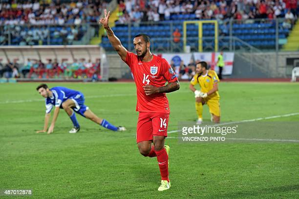 England's forward Theo Walcott celebrates after scoring during the EURO 2016 qualifying football match San Marino vs England at the San Marino...
