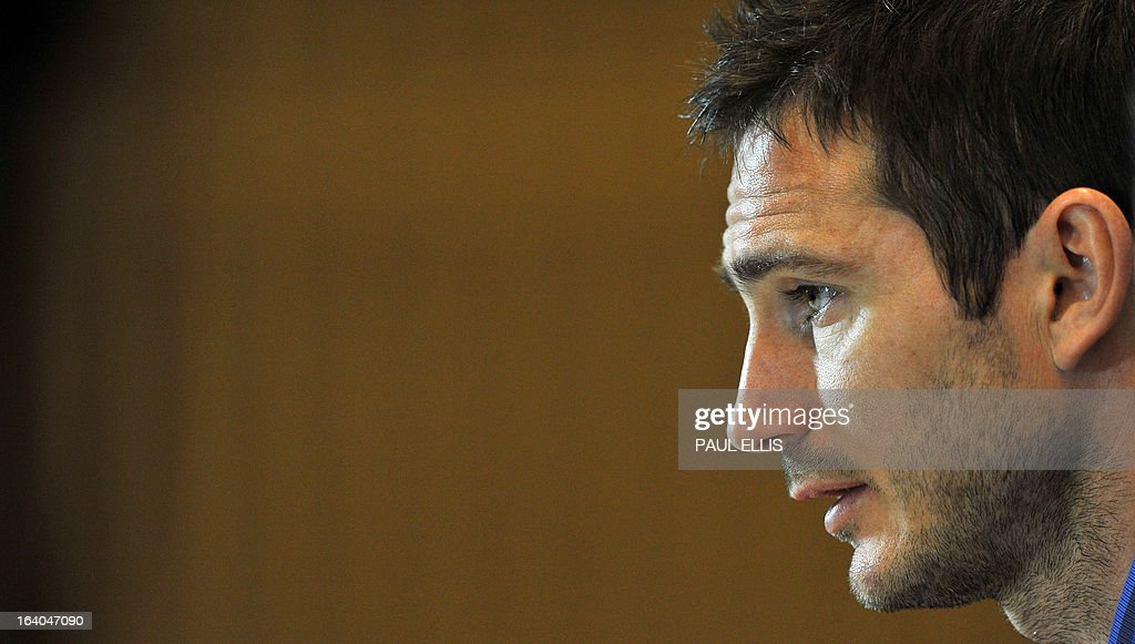 England's Frank Lampard attends a press conference at the St George's Park training complex, near Burton-upon-Trent, central England on March 19, 2013 ahead of their 2014 World Cup qualifier football match against San Marino on March 22. AFP PHOTO / PAUL ELLIS NOT FOR MARKETING OR ADVERTISING USE / RESTRICTED TO EDITORIAL USE