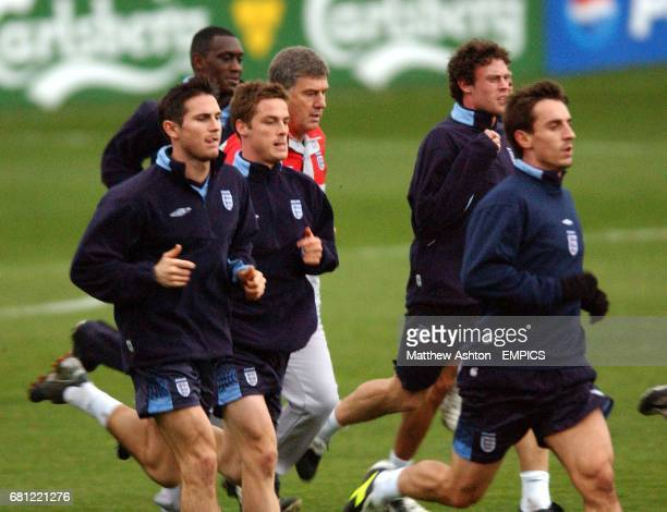 England's Frank Lampard Emile Heskey Scott Parker Wayne Bridge and Gary Neville warm up before training