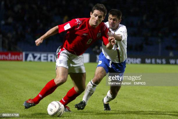 England's Frank Lampard takes on Azerbaijan's Aslan Kerimov