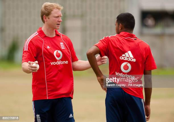 England's Gareth Batty and Adil Rashid during a nets session at Everest Cricket Ground Georgetown Guyana
