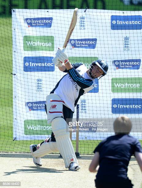England's Gary Balance hits out during a nets session at Headingley Leeds