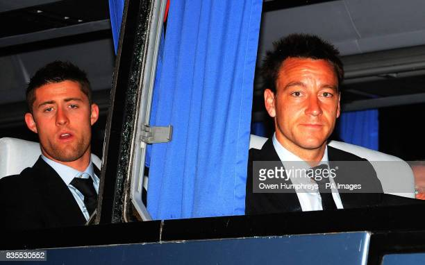 England's Gary Cahill and John Terry arrive at the Intercontinental Hotel in Almaty Kazakhstan