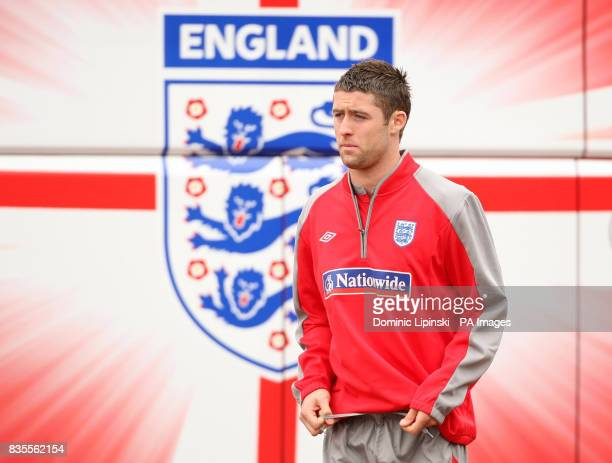 England's Gary Cahill arrives for a training session at London Colney Hertfordshire
