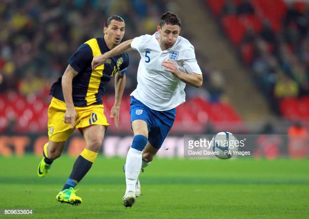 England's Gary Cahill gets away from Sweden's Zlatan Ibrahimovic
