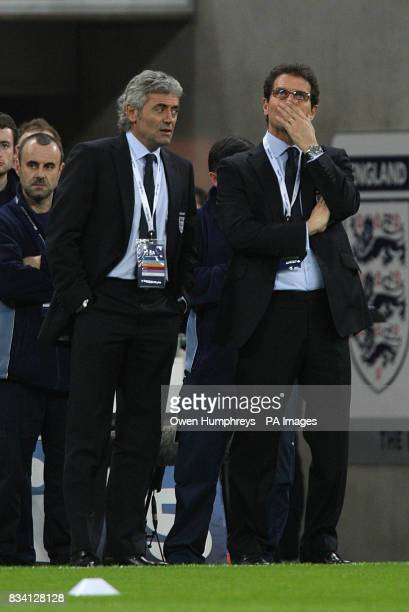 England's general manager Franco Baldini and manager Fabio Capello on the touchline during the International Friendly match at Wembley Stadium London