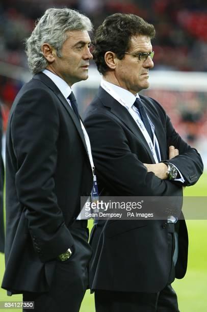 England's general manager Franco Baldini and Manager Fabio Capello prior to kick off