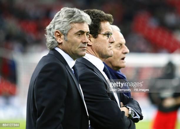 England's general manager Franco Baldini Manager Fabio Capello and Assistant coach Italo Galbiati