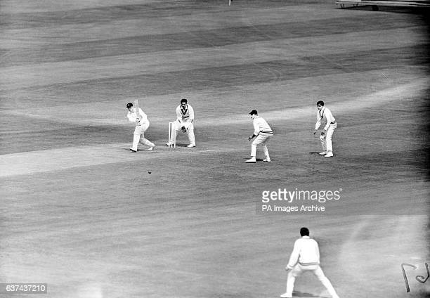 England's Geoff Boycott at bat watched by India wicketkeeper Farokh Engineer