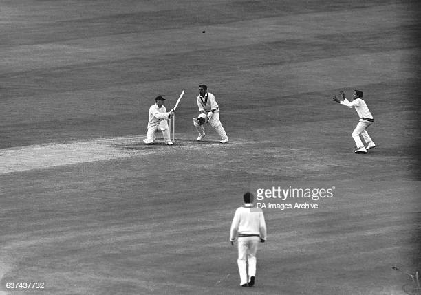 England's Geoff Boycott top edges the ball past India wicketkeeper Farokh Engineer