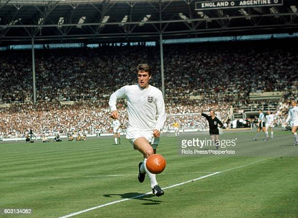England's Geoff Hurst with the ball during the England v Argentina World Cup QuarterFinal match at Wembley Stadium on 23rd July 1966 England won 10