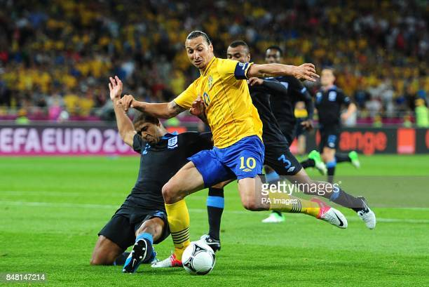 England's Glen Johnson and Ashley Cole combine to stop Sweden's Zlatan Ibrahimovic