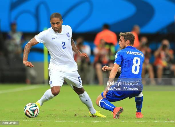 England's Glen Johnson in action with Italy's Claudio Marchisio