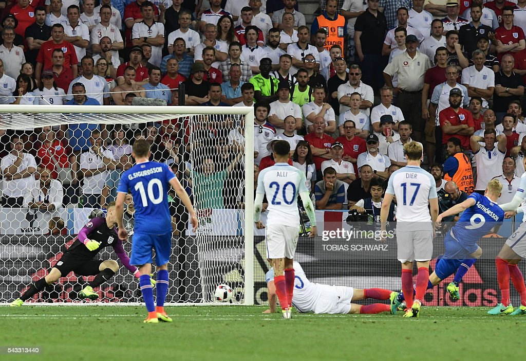 England's goalkeeper Joe Hart misses the ball during Euro 2016 round of 16 football match between England and Iceland at the Allianz Riviera stadium in Nice on June 27, 2016. / AFP / TOBIAS