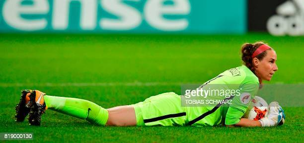 England's goalkeeper Karen Bardsley grabs a ball during the UEFA Women's Euro 2017 football tournament match between England and Scotland at Stadium...