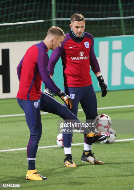 England's goalkeepers Joe Hart and Jack Butland take part in a training session on the eve of the 2018 FIFA World Cup Qualifying match Lithuania v...