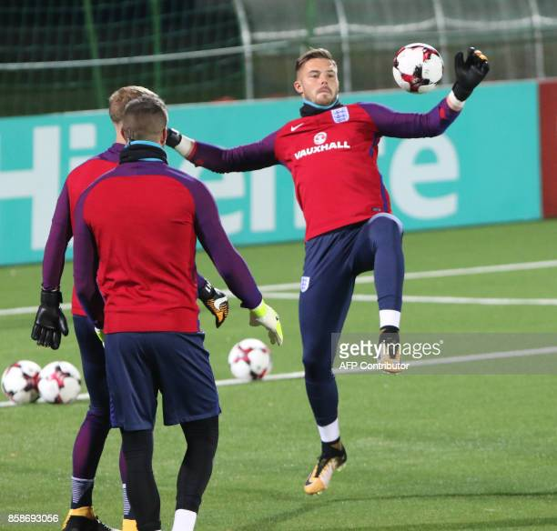 England's goalkeepers Joe Hart Jordan Pickford and Jack Butland take part in a training session on the eve of the 2018 FIFA World Cup Qualifying...