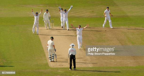 England's Graeme Swann appeals for the wicket of Australia's Phillip Hughes during the 1st Test match between England and Australia at Trent Bridge...