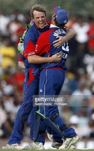 England's Graeme Swann celebrates dismissing Sri Lanka's Kumar Sangakkara with teammate Phil Mustard during the First One Day International at...