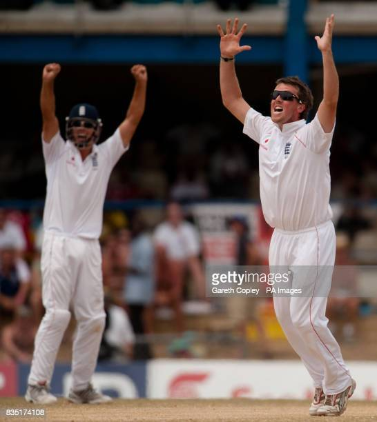 England's Graeme Swann celebrates dismissing West Indies' Devon Smith during the fifth test at Queen's Park Oval Port of Spain Trinidad