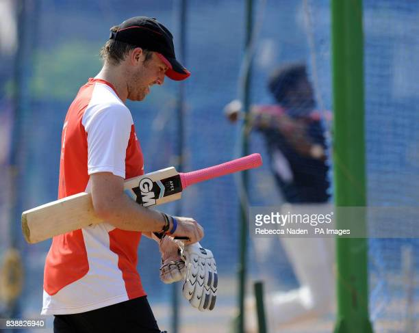 England's Graeme Swann heads for the nets during a practice session at the Chidambaram Stadium Chennai India