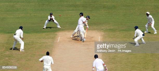 England's Graeme Swann is caught behind by Rahul Dravid bowled Harbhijan Singh for 1 during the second day of the First Test Match at the M A...