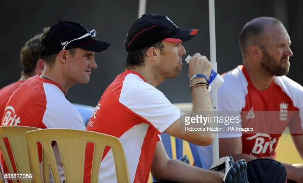 England's Graeme Swann takes a drink during a practice session at the Chidambaram Stadium Chennai India