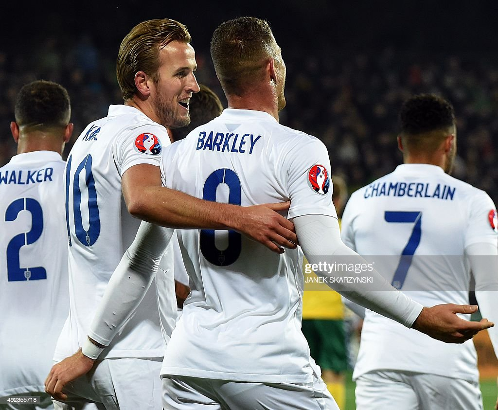 England's Harry Kane reacts after scoring a goal with teammate Ross Barkley during the Euro 2016 Group E qualifying football match between Lithuania...