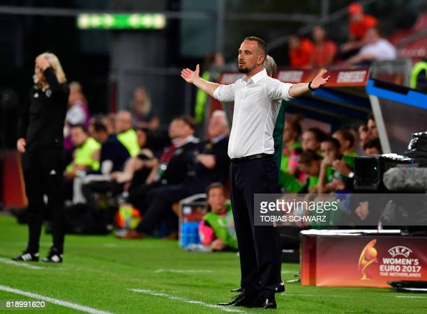 England's head coach Mark Sampson reacts during the UEFA Women's Euro 2017 football tournament match between England and Scotland at Stadium...