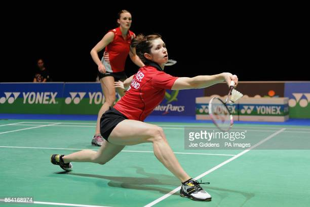 England's Heather Olver and Kate Robertshaw in action against Scotland's Imogen Bankier and Bulgaria's Petya Nedelcheva during day one of the 2013...