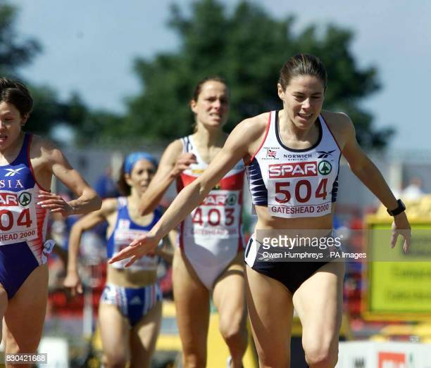 England's Helen Pattinson celebrates as she wins the 1500m during the Spar European Cup at Gateshead