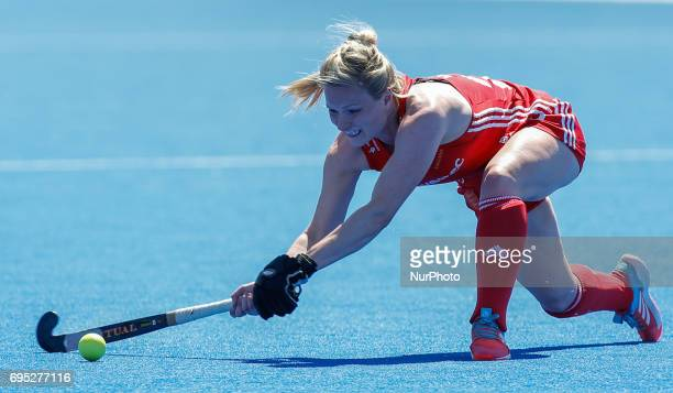 England's Hollie Webb during the Investec International match between England Women and Argentina Women at The Lee Valley Hockey and Tennis Centre in...